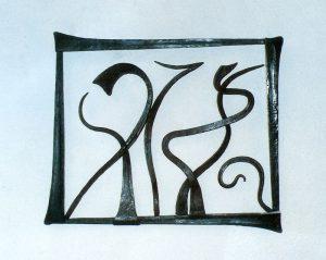 Escultura de hierro colgante