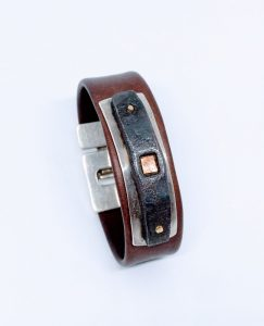 Leather bracelet with silver, iron and copper
