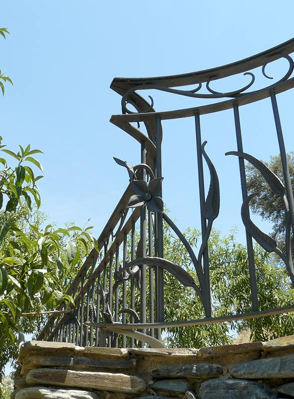 wrought iron flower detail on railing