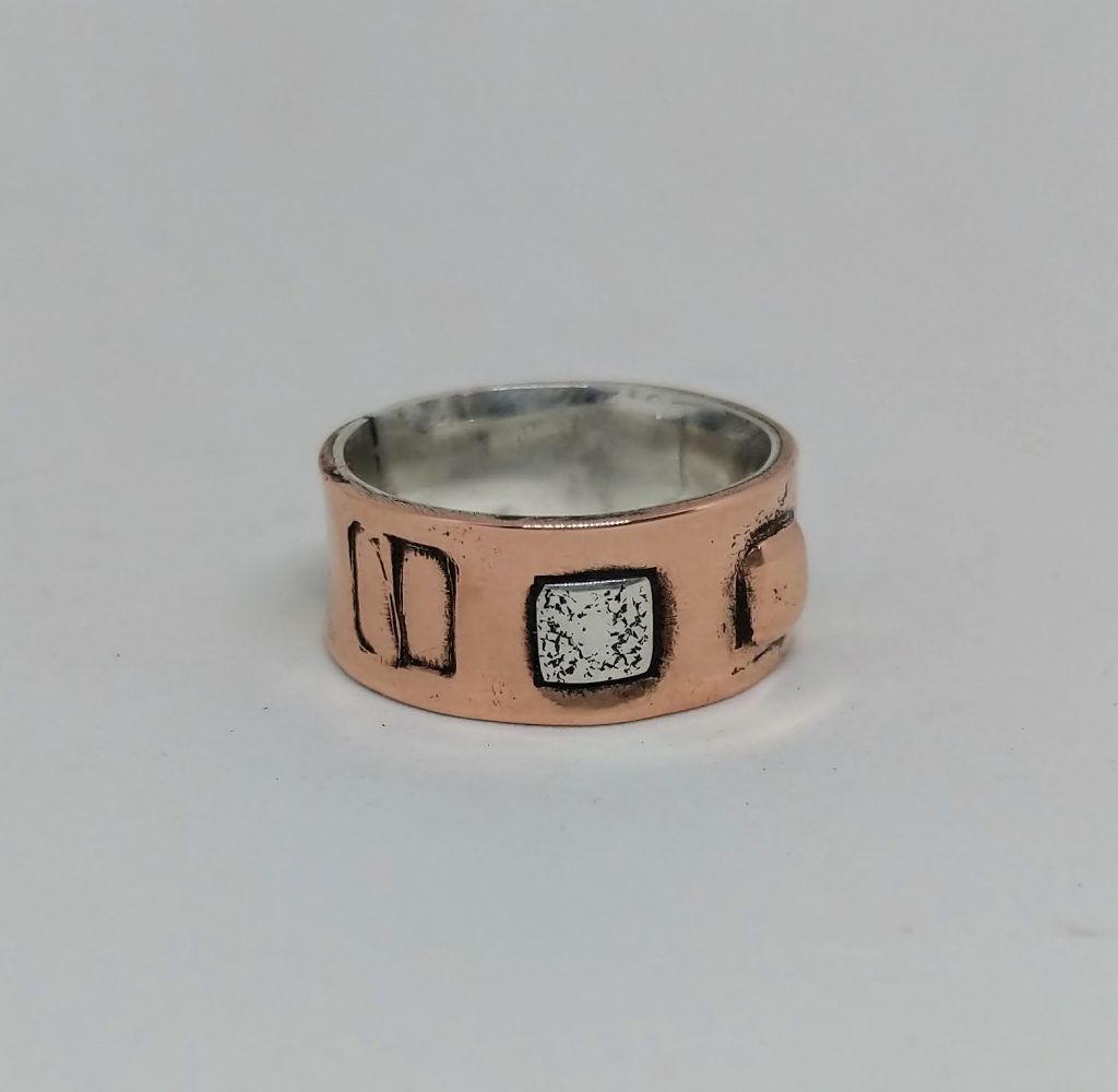 Silver lined copper ring