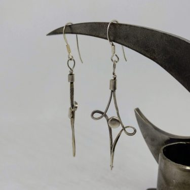 long forged silver wire earrings
